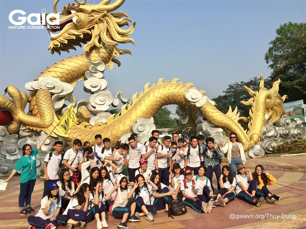 Chụp ảnh tập thể với rồng vàng.