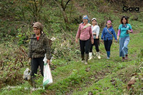 ng bào gùi cây và mang theo công cụ cần thiết để trồng rừng