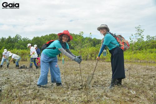 Cán bộ GAIA hỗ trợ mọi người trồng cây