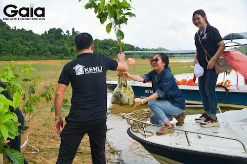 MC Thái Minh Châu cùng nhân viên Kenli bưng cây xuống thuyền