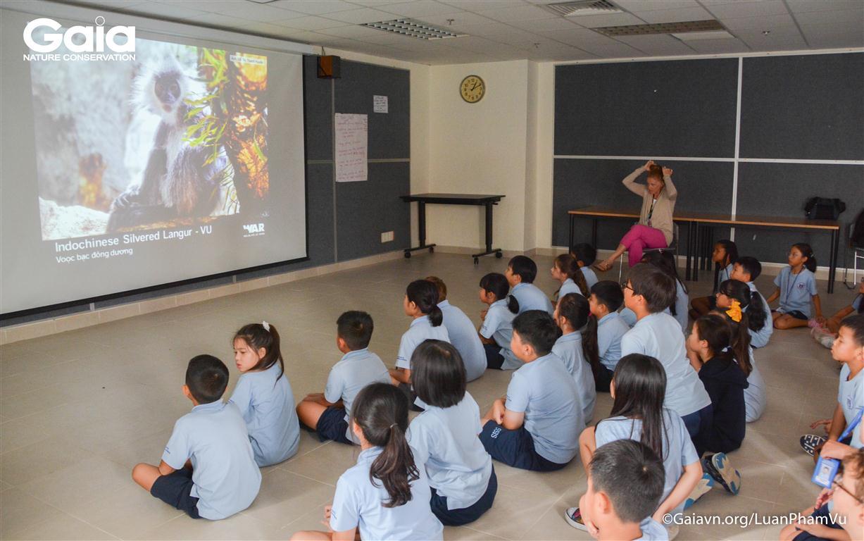 Học sinh chăm chú theo dõi hình ảnh động vật hoang dã.
