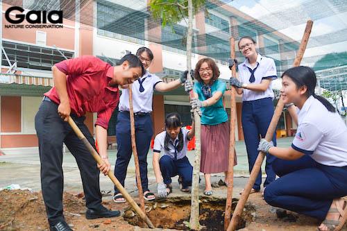Giám đốc Gaia trồng cây cùng giáo viên và học sinh trường Nguyễn Hữu Huân