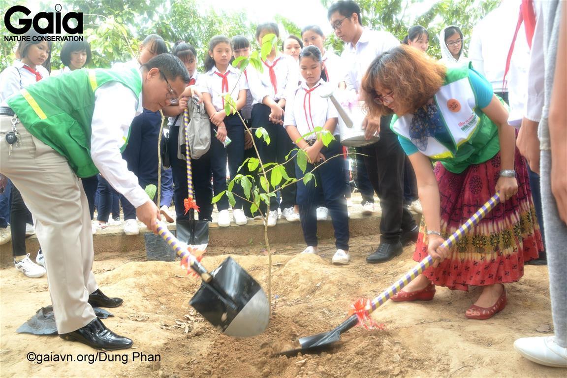 Trồng cây bảo vệ rừng tại trường THCS Thới Hoà.