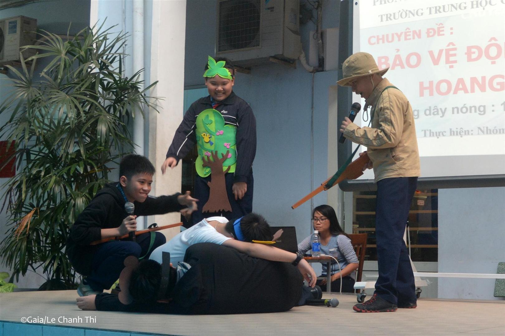 Học sinh trường Ba Đình diễn kịch về Bảo vệ động vật hoang dã