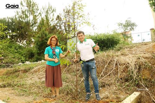Chụp ảnh với cây đã trồng.