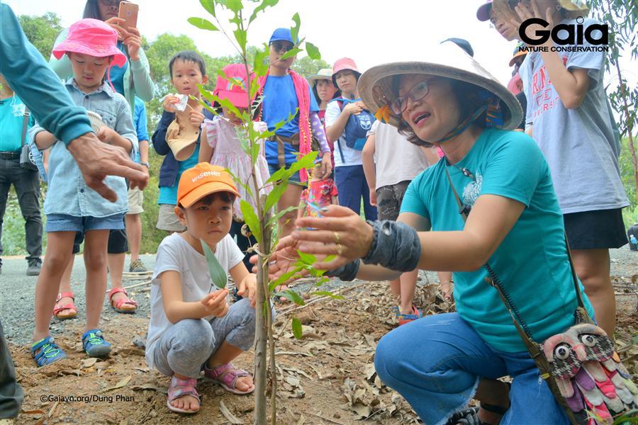 Chăm chú nghe hướng dẫn trồng cây.