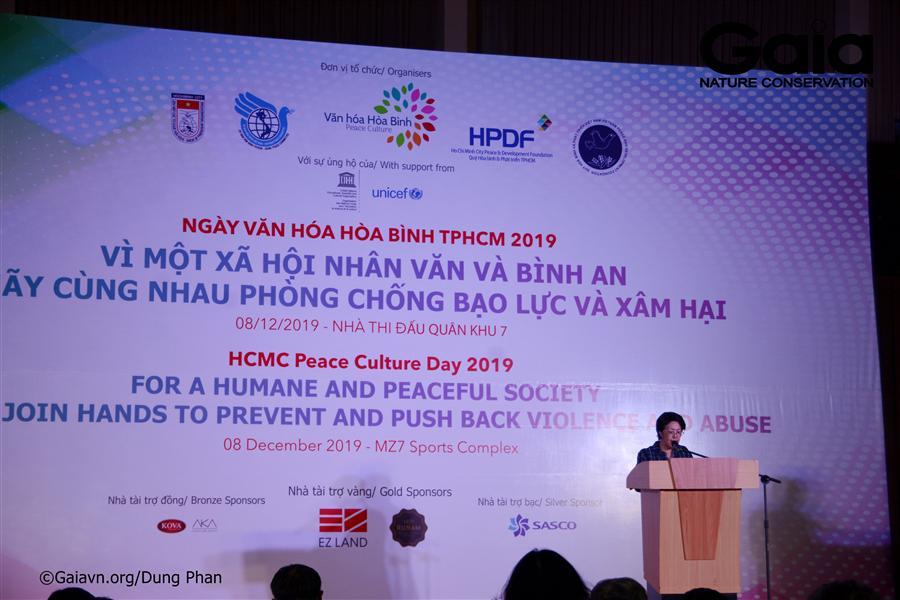 Bà Tôn Nữ Thị Ninh – Chủ tịch Quỹ Hòa bình và Phát triển Tp.HCM phát biểu tại Sự kiện.