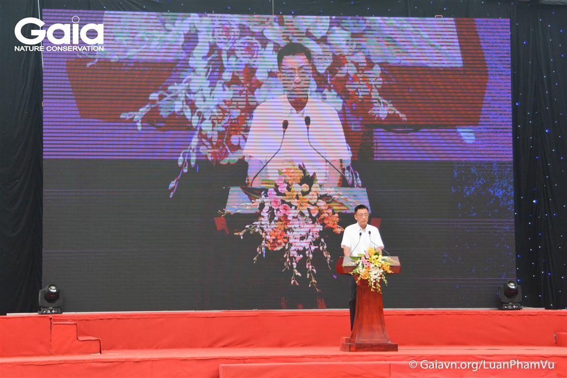 Anh Trần Phong, Cục trưởng Cục Môi trường Miền Nam - Bộ Tài nguyên và môi trường, thành viên Ban Cố Vấn Trung tâm Bảo tồn thiên nhiên Gaia phát biểu khai mai.