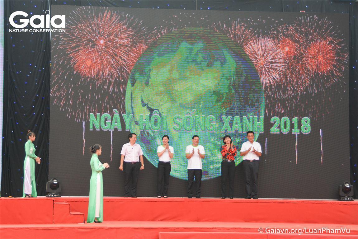 Khoảnh khắc khai mạc sự kiện Ngày Hội Sống Xanh TPHCM 2018.