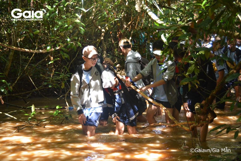 Học sinh thích thú khi lần đầu tiên được lội suối trong rừng.
